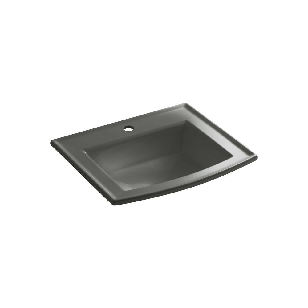 Archer Drop-In Vitreous China Bathroom Sink in Thunder Grey with Overflow