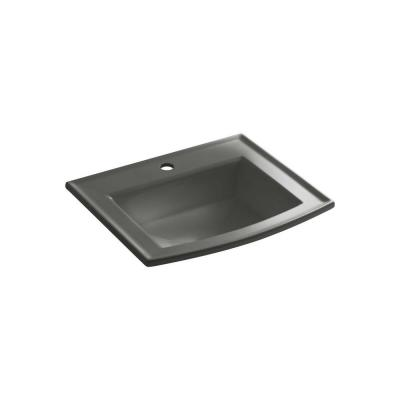 Archer Drop-In Vitreous China Bathroom Sink in Thunder Grey with Overflow Drain