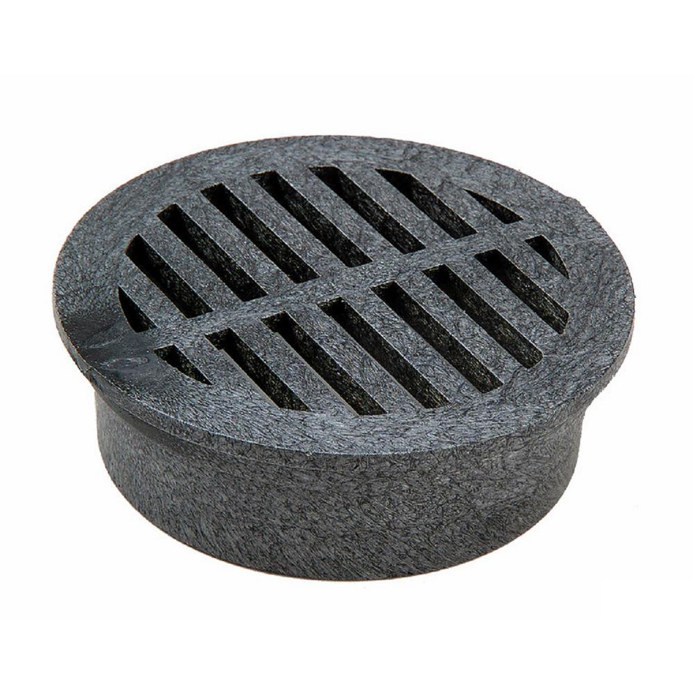 4 in. Plastic Round Drainage Grate in Black