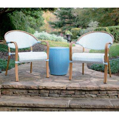 Monticello 3-Piece Blue and White Wicker Outdoor Bistro Set