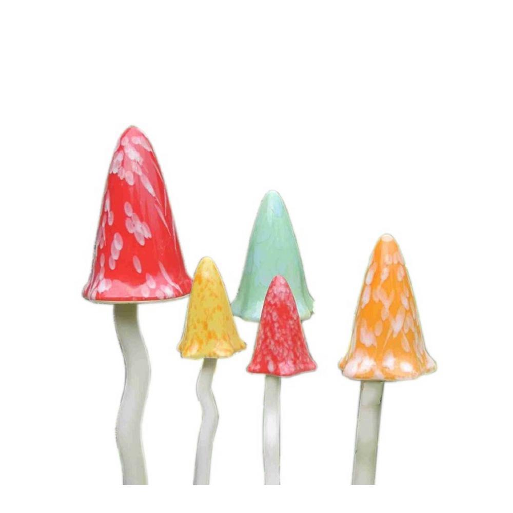 Glazed Ceramic Tinkling Toadstools Decorative Garden Stakes (5-Piece Set)