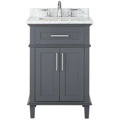 Sonoma 24 in. W x 20.25 in. D Vanity in Dark Charcoal with Carrara Marble Top with White Sinks