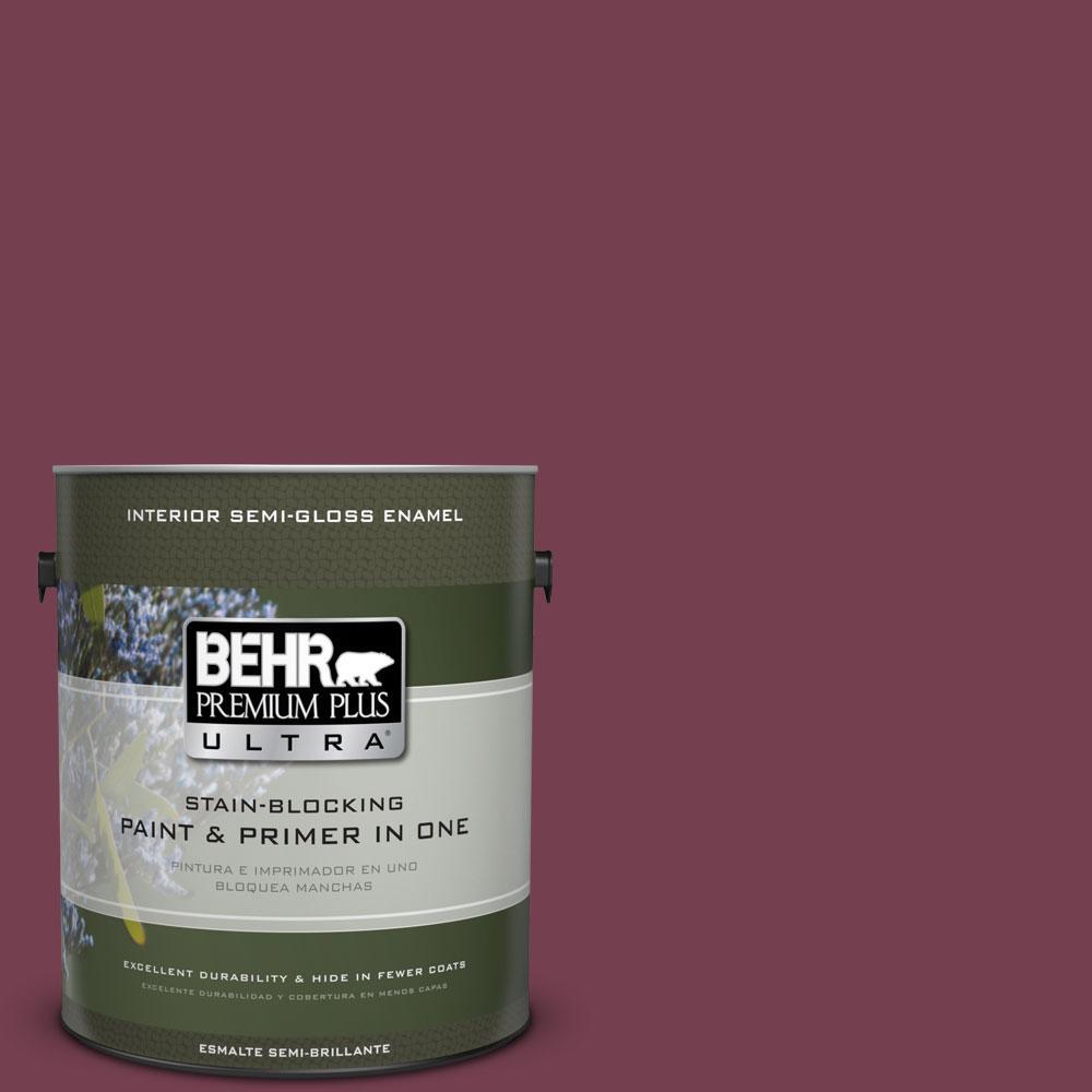 BEHR Premium Plus Ultra 1-gal. #T11-4 Blood Rose Semi-Gloss Enamel Interior Paint