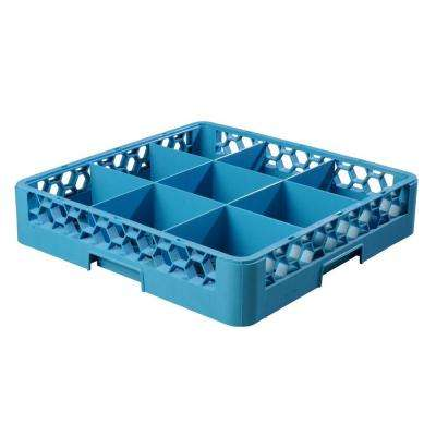 19.75x19.75 in. 9-Compartment Dishwashing Rack (for Glass 5.56 in. Diameter, 3.19 in. H) in Blue (Case of 6)