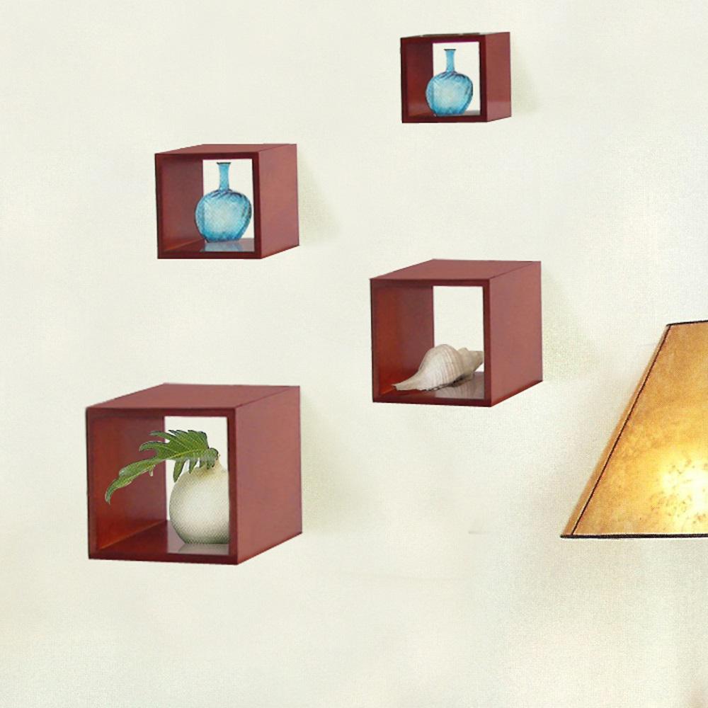Cognac Decorative Wood Storage Wall Cube (Set of 4)-DWT-300CC ...