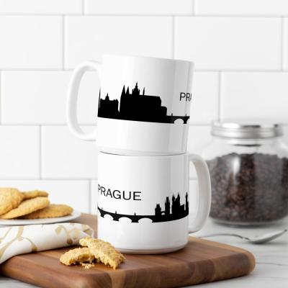 Prague Skyline 20 oz. White Ceramic Coffee Mugs (Set of 2)