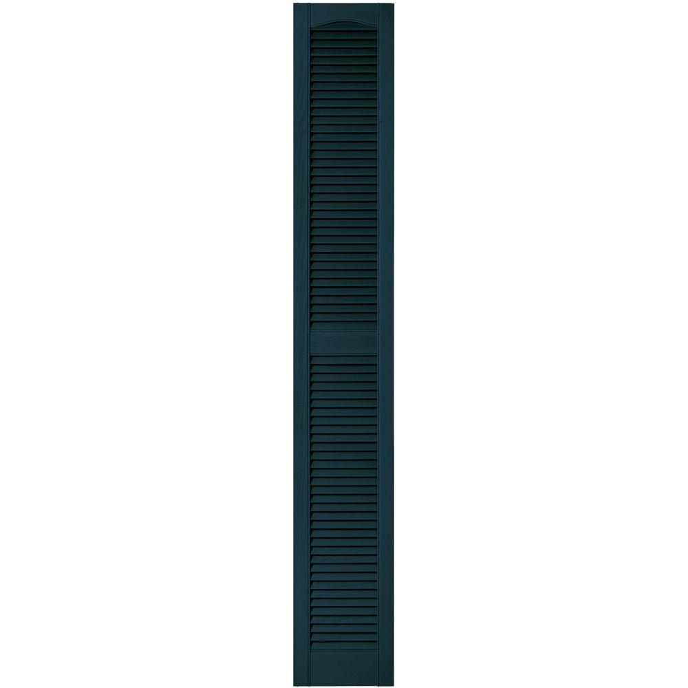Builders Edge 12 in. x 80 in. Louvered Vinyl Exterior Shutters Pair in #166 Midnight Blue