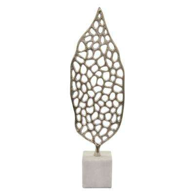 19 in. Metal Sculpture Marble Base in Silver