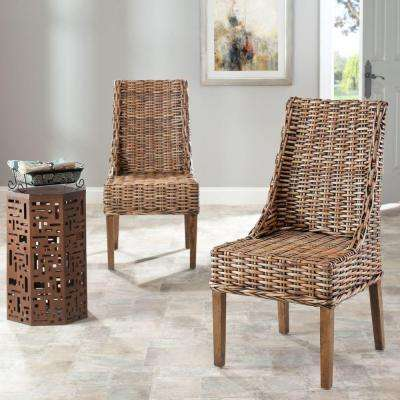 Suncoast Brown Rattan & Mango Wood Side Chair (Set of 2)