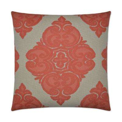 Cotillion Salmon Feather Down 24 in. x 24 in. Standard Decorative Throw Pillow