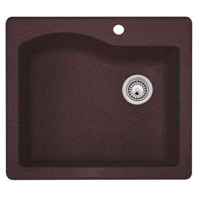Drop-In/Undermount Granite 25 in. 1-Hole Single Bowl Kitchen Sink in Espresso