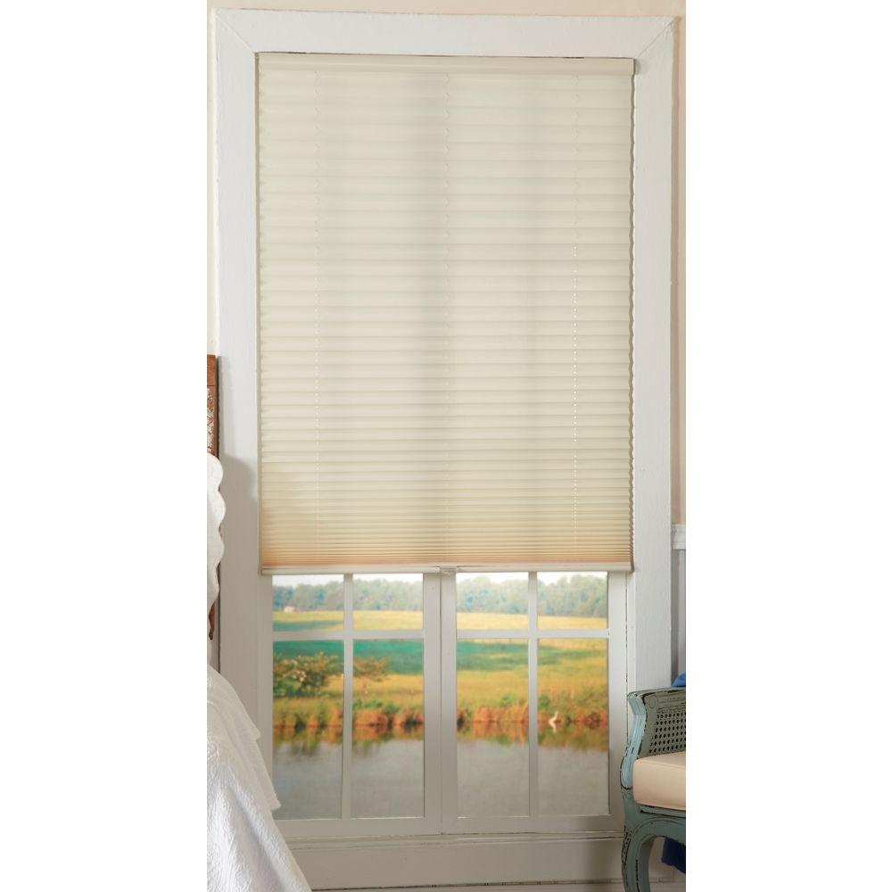 Perfect Lift Window Treatment Ecru 1 in. Light Filtering Cordless Pleated Shade - 34 in. W x 64 in. L (Actual Size: 34 in. W x 64 in. L )