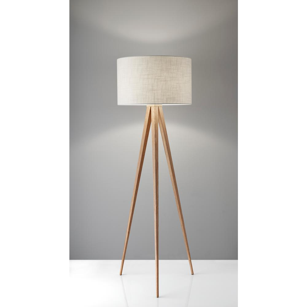 Adesso Director 60 In Oak Wood Floor Lamp