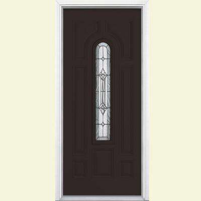 36 in. x 80 in. Providence Center Arch Right-Hand Painted Smooth Fiberglass Prehung Front Door w/ Brickmold, Vinyl Frame
