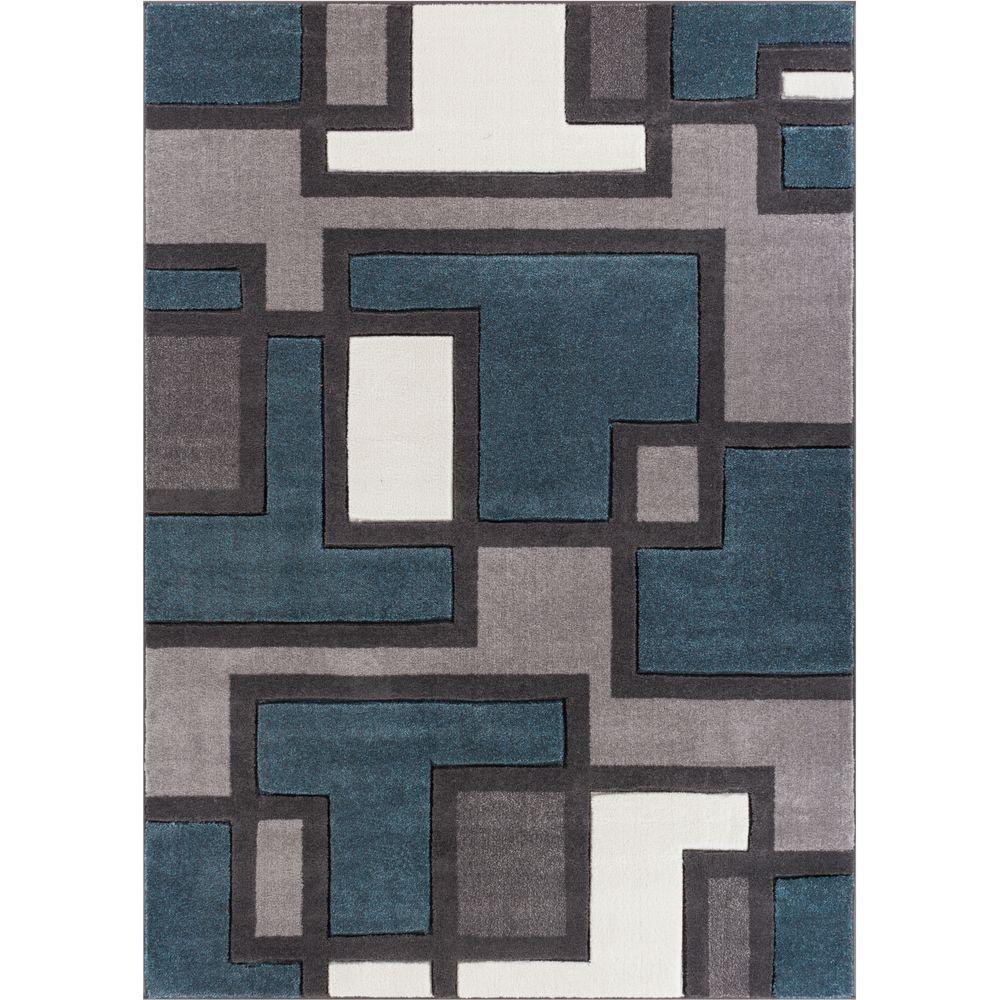 Ruby Imagination Squares Blue 8 ft. x 10 ft. Modern Area Rug