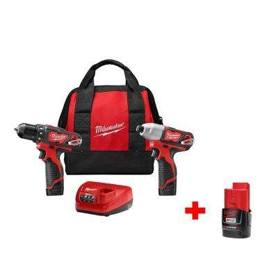 M12 12-Volt Lithium-Ion Cordless Drill Driver/Impact Driver Combo Kit (2-Tool)W/ Free M12 2.0Ah Compact Battery