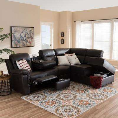 Roland 2 Piece Contemporary Brown Faux Leather Upholstered Right Facing  Chase Sectional Sofa
