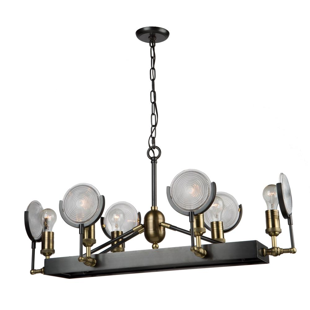 6-Light Slate and Vintage Brass Billiard Light