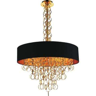 Chained 8-Light Gold Chandelier with Gold shade