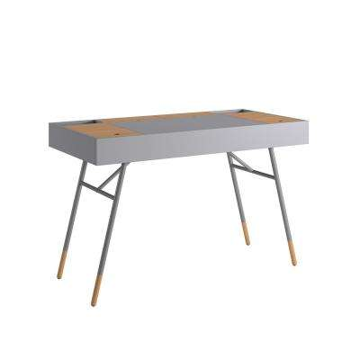 Marlowe Flip Compartment Grey Writing Desk with Built In Outlets