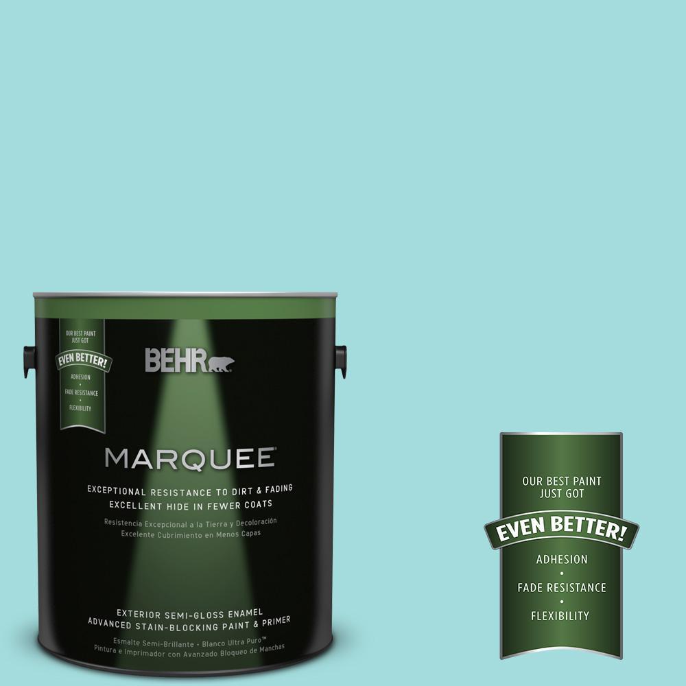 BEHR MARQUEE 1-gal. #500A-3 Aqua Spray Semi-Gloss Enamel Exterior Paint
