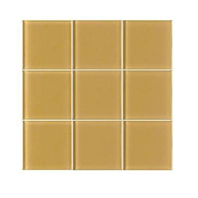 Vitraart Tranquil Golden 4 in. x 4 in. Glass Wall Tile (6 sq. ft. / case)