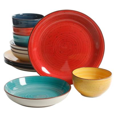 Color Speckle 12-Piece Assorted Colors Double Bowl Dinnerware Set