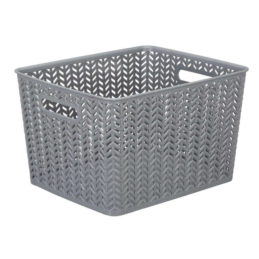13.75 in. x 11.50 in. x 8.75 in. Large Herringbone Storage Bin in Grey