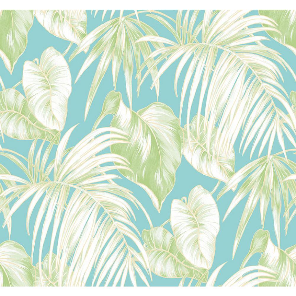 Dominica Aqua and Green Tropical Leaf Wallpaper
