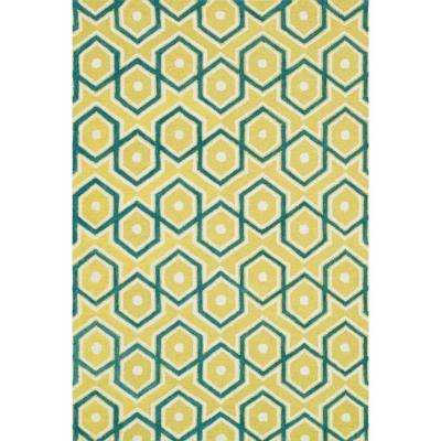 Weston Lifestyle Collection Lemon/Aqua 3 ft. 6 in. x 5 ft. 6 in. Area Rug