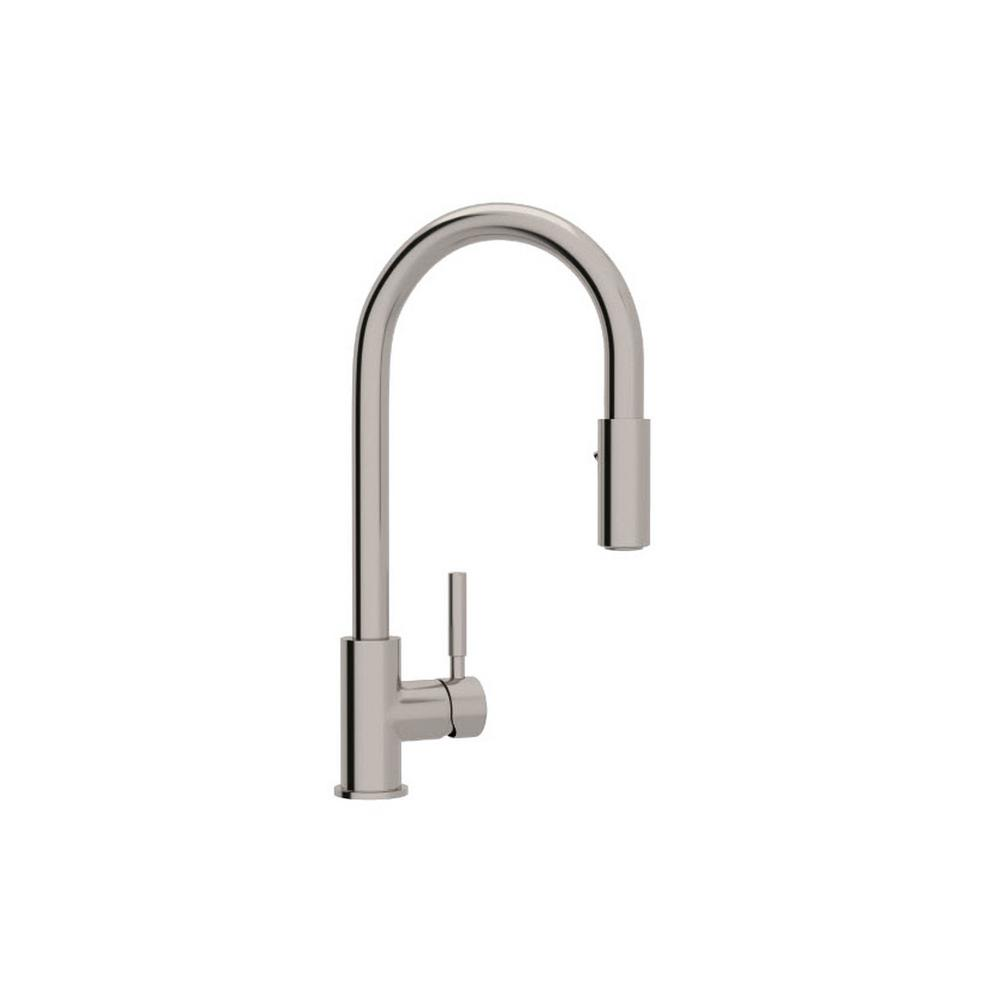 Rohl Modern Lux Single Handle Pull Down Sprayer Kitchen Faucet In Stainless Steel