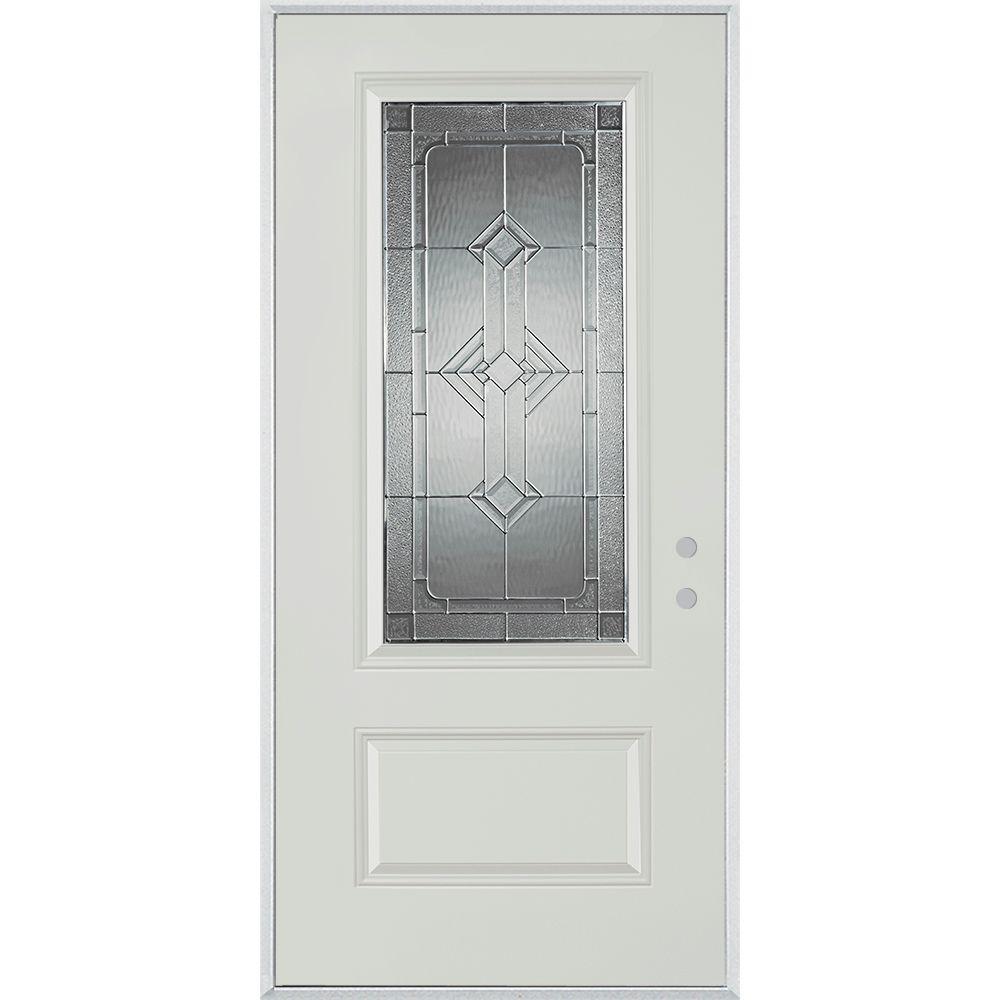 Stanley Doors 32 in. x 80 in. Neo-Deco Zinc 3/4 Lite 1-Panel Painted White Steel Prehung Front Door