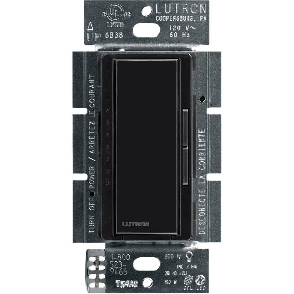 Lutron Maestro Led Dimmer Switch For Dimmable Led Halogen And Incandescent Bulbs Single Pole Or Multi Location Black Macl 153m Bl The Home Depot