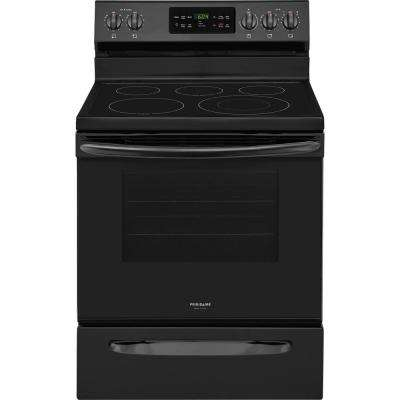 30 in. 5.4 cu. ft. Single Oven Electric Range with Self-Cleaning Convection Oven in Black