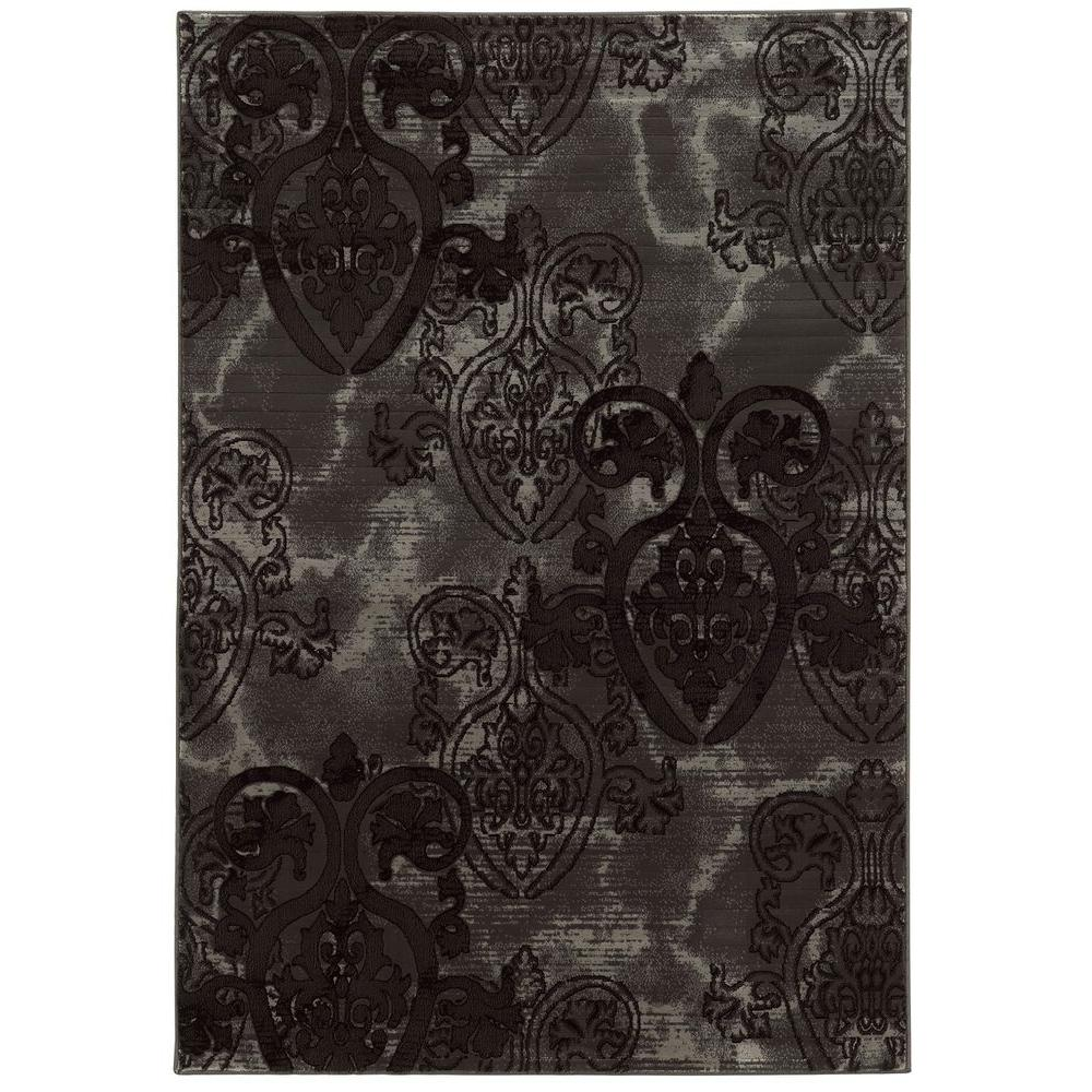 linon home decor jewel collection grey and black 5 ft x 7 ft 6 in indoor area rug rug byj0158. Black Bedroom Furniture Sets. Home Design Ideas