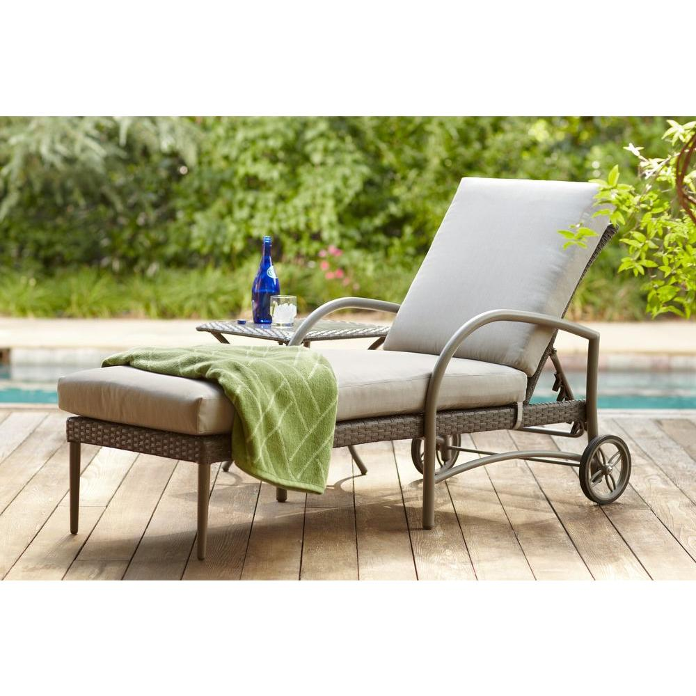 Hampton Bay Posada Patio Chaise Lounge With Gray Cushion 153 120 Cl The Home Depot