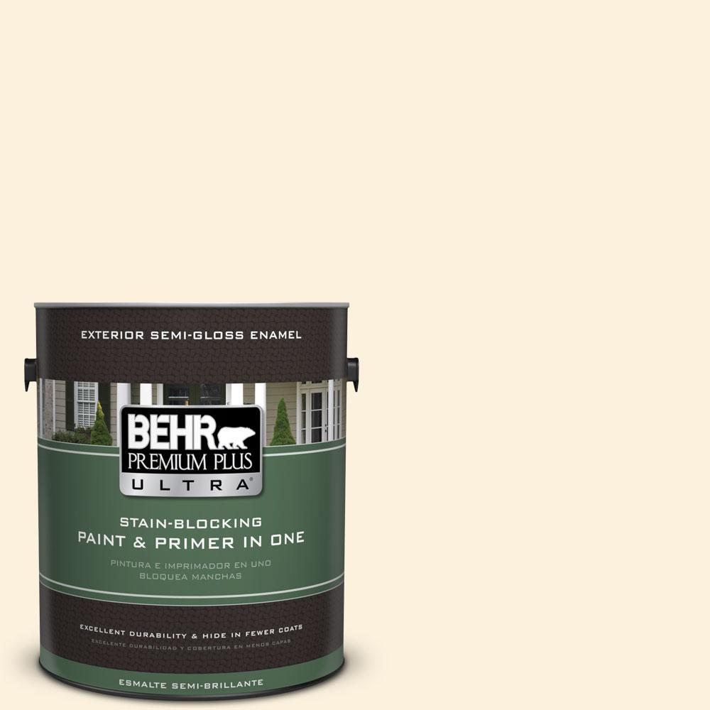 BEHR Premium Plus Ultra 1-gal. #320A-1 Eggnog Semi-Gloss Enamel Exterior Paint