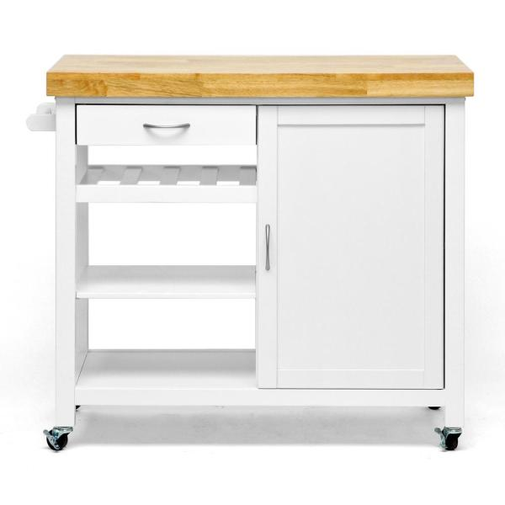 Baxton Studio Denver White Kitchen Cart with Butcher Block Top 28862-3980-HD