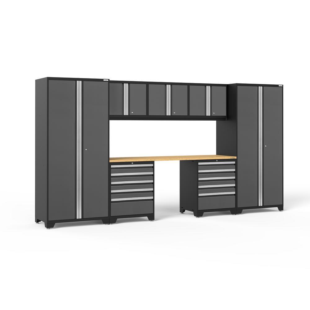 NewAge Products Pro Series 3.0 156 in. W x 85.25 in. H x 24 in. D 18-Gauge Welded Steel Garage Cabinet Set in Gray (8-Piece)