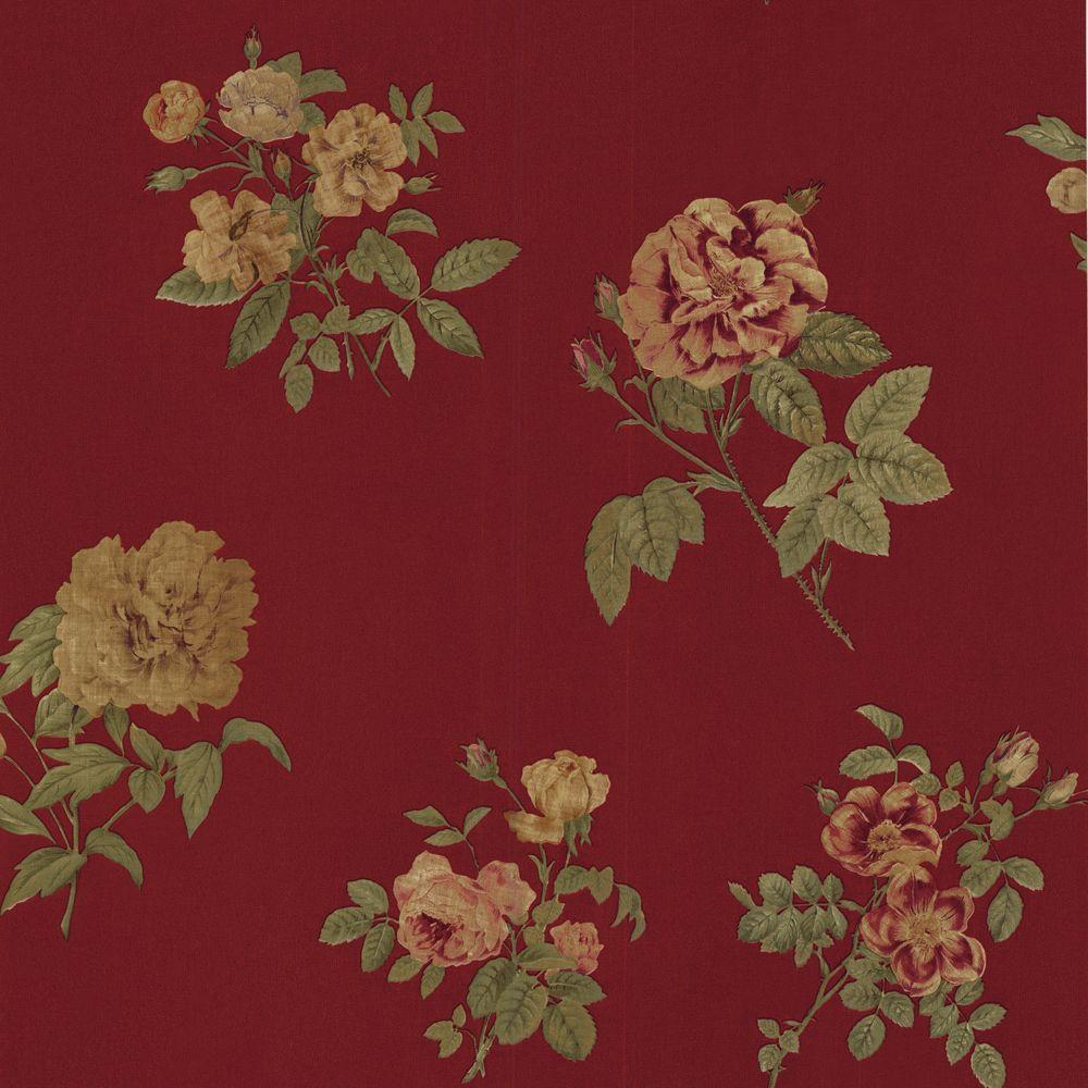 The Wallpaper Company 10 in. x 8 in. Red Romantic Floral Wallpaper Sample