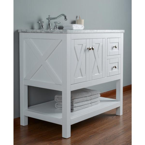 Stufurhome Anabelle 36 In White Single Sink Bathroom Vanity With Marble Vanity Top And White Basin Hd 1527w 36 Cr The Home Depot