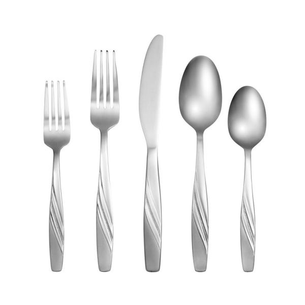 Cambridge Misha Sand/Pebble 60-Piece 18/0 Stainless Steel Set 427460OPC12DS