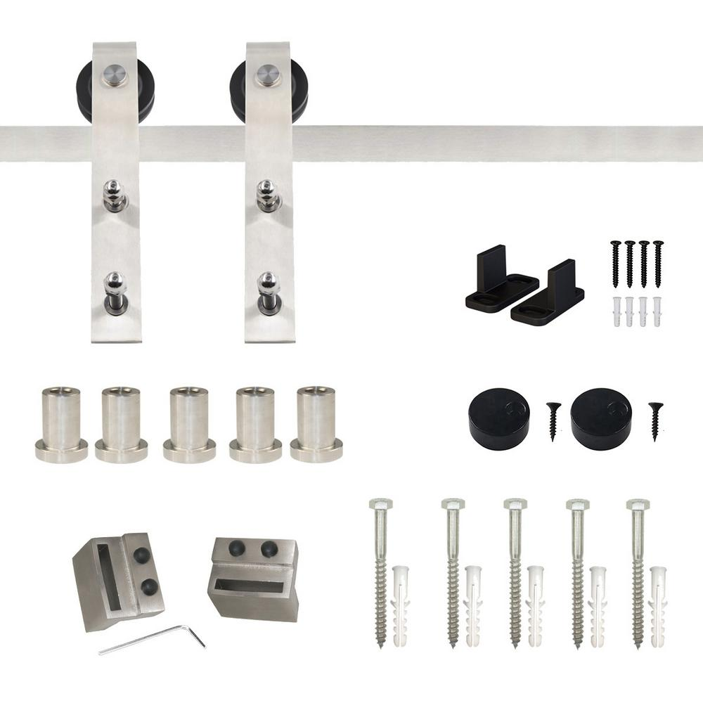 WINSOON 6 6 ft /79 in  Stainless Steel Flat Rail Bent Strap Barn Door  Hardware Kit for Single Wood Door Non-Routed Floor Guide