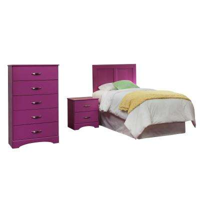 3 -Piece Raspberry Twin Collection Bedroom Set
