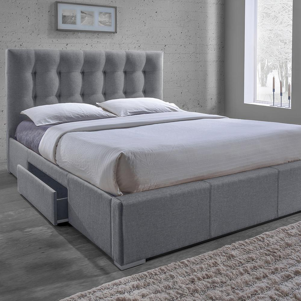 Sarter Transitional Gray Fabric Upholstered King Size Bed