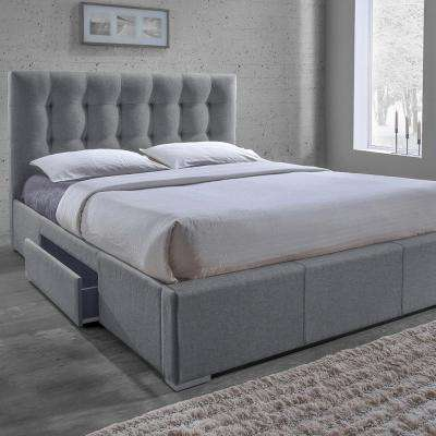 Sarter Transitional Gray Fabric Upholstered Queen Size Bed