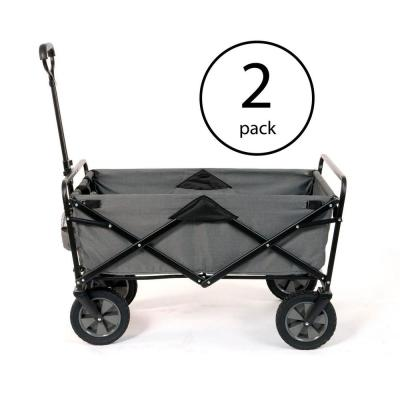 Collapsible Steel Frame Outdoor Garden Camping Wagon, Gray (2 Pack)