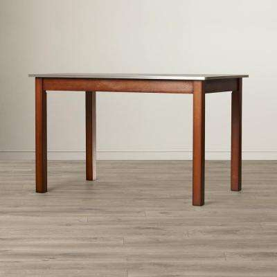 Carter Chestnut Brown Stainless Steel Top Dining Table