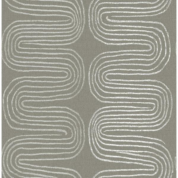 A-Street 8 in. x 10 in. Zephyr Brown Abstract Stripe Wallpaper
