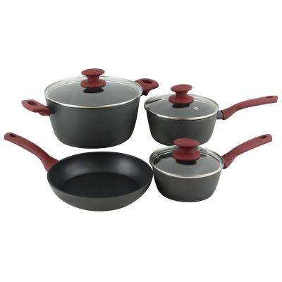 Marengo 7-Piece Black Aluminum Cookware Set with Lids
